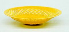 "Yellow painted steel.10-1/2"" diameter x 2-1/2"" high$150.00"