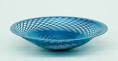 """Metallic Blue painted steel.10-1/2"""" diameter x 2-1/2"""" high$150.00"""